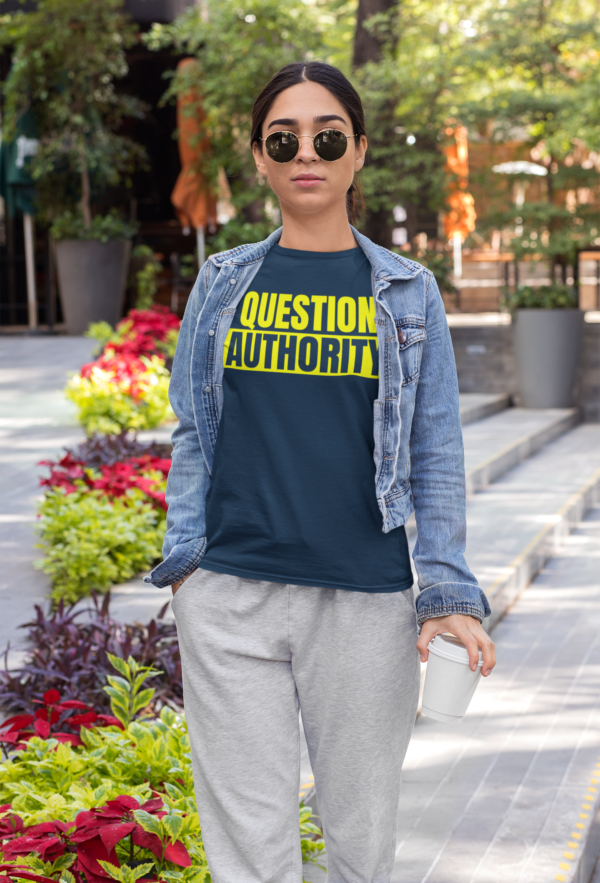 question authority shirt mockup navy woman