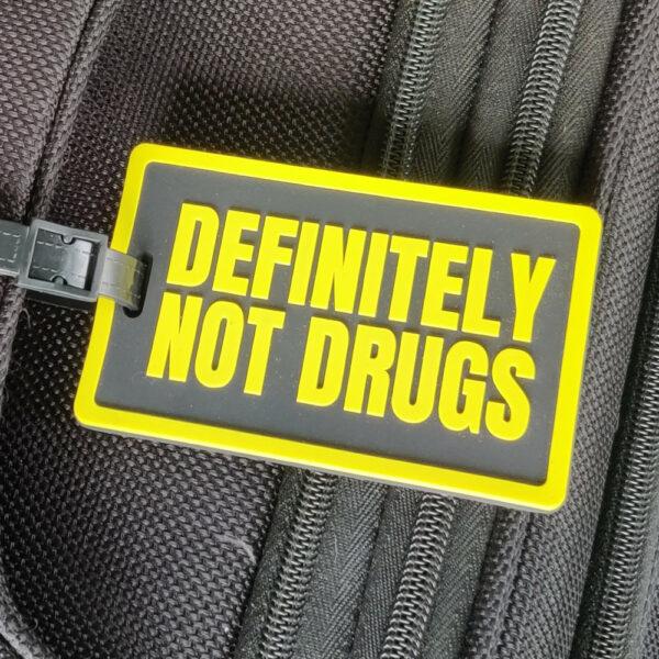 definitely not drugs luggage tag